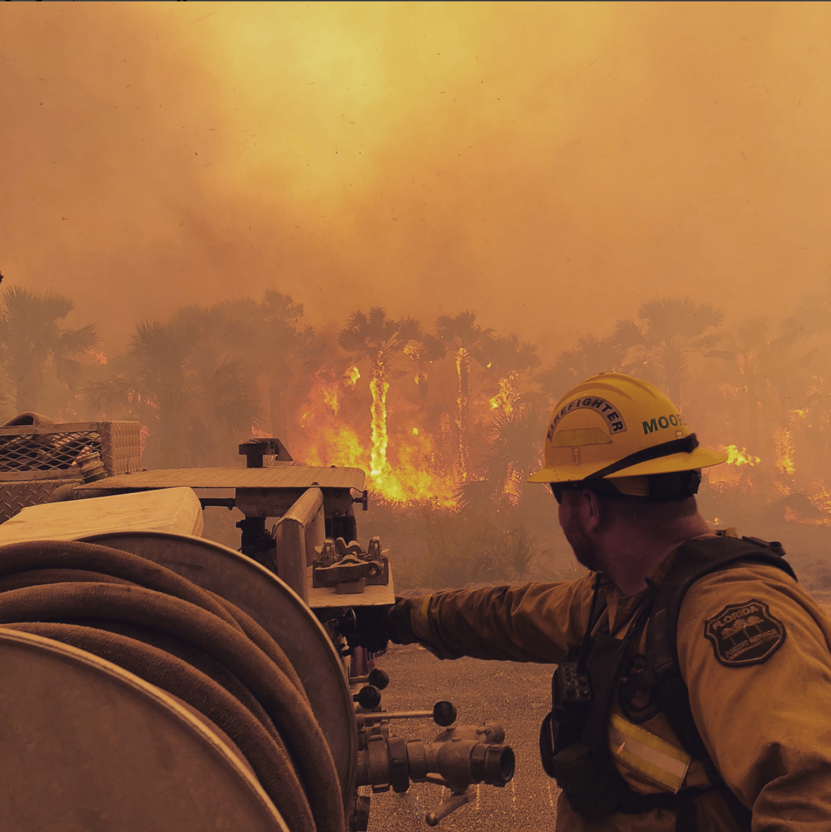 Image of man looking at wildfire
