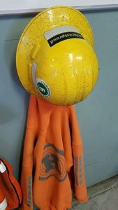 Hampton Lumber hardhat and sweatshirt