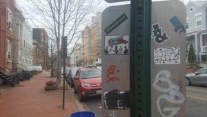 sticker on a signpost in Portland