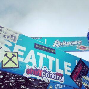 sticker on a sign at a ski resort