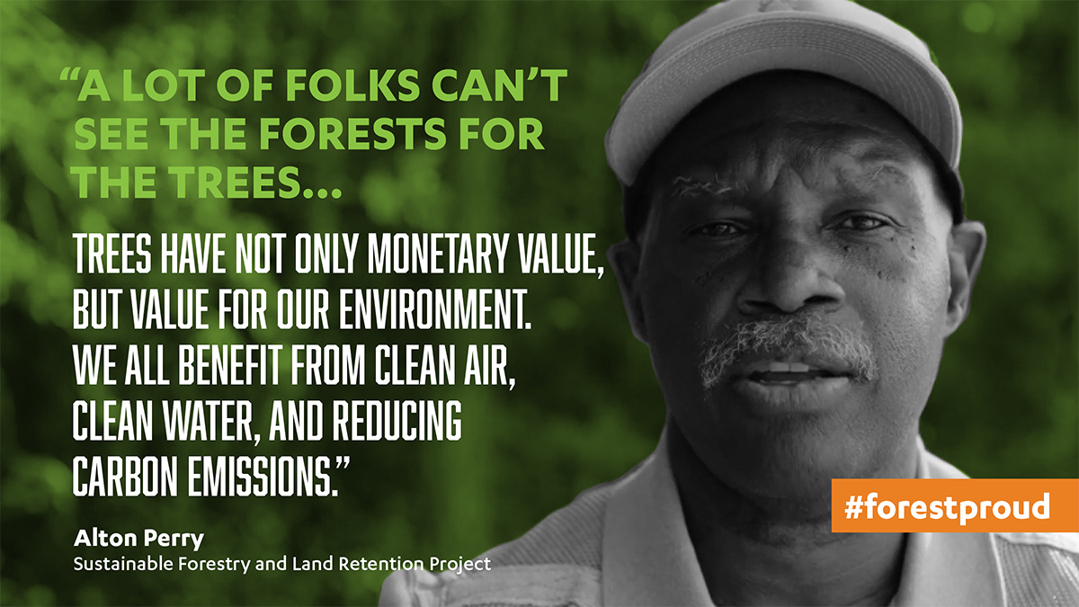 """A lot of folks can't see the forest for the trees. Trees have not only monetary value, but value for our environment that we all benefit from clean air, clean water, and reducing carbon emissions."" Alton Perry"